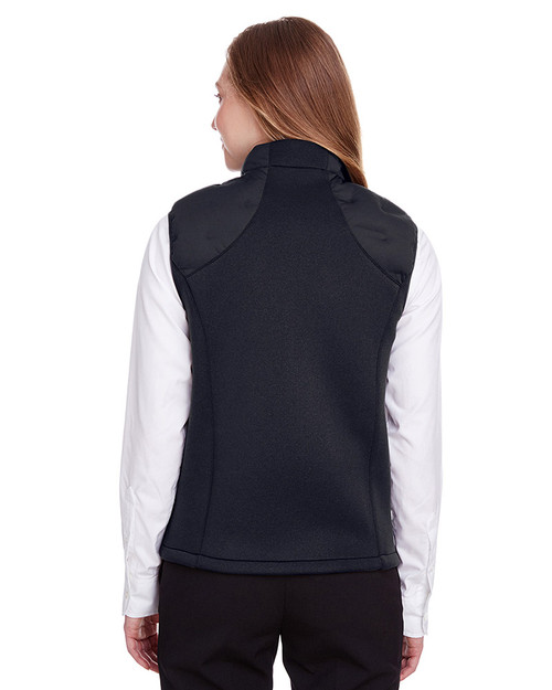 Black/Black/Carbon - back, NE709W Ash City - North End Ladies' Pioneer Hybrid Vest | Blankclothing.ca
