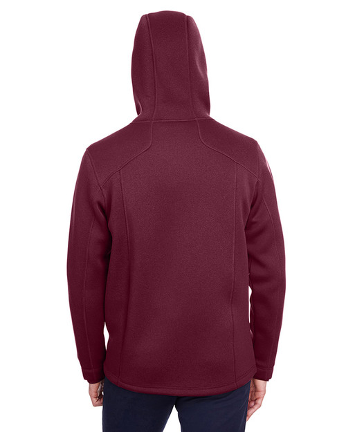 Burgundy Heather/Olympic Blue - back, NE707 Ash City - North End Men's Paramount Bonded Knit Jacket | Blankclothing.ca