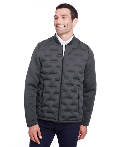 Carbon/Black Heather/Black - NE710 Ash City - North End Men's Pioneer Hybrid Bomber Jacket