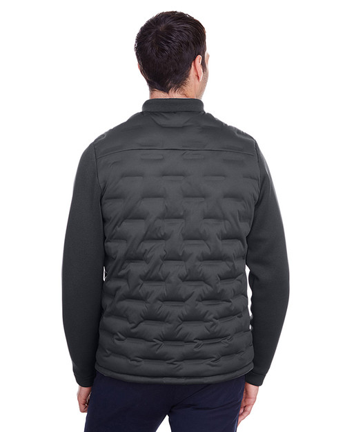 Carbon/Black Heather/Black - back, NE710 Ash City - North End Men's Pioneer Hybrid Bomber Jacket