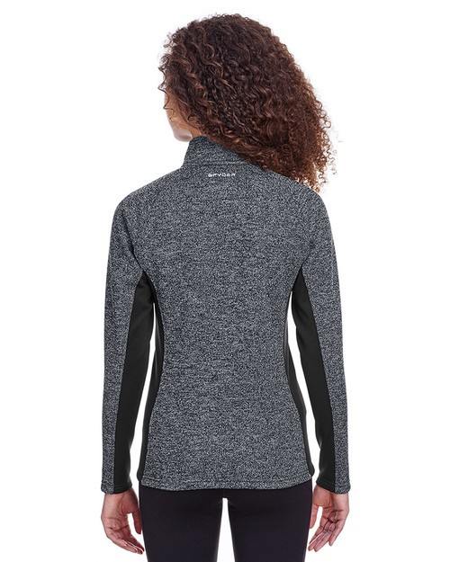 Black Heather/Black - back, S16562 Spyder Ladies' Constant Half-Zip Sweater | Blankclothing.ca