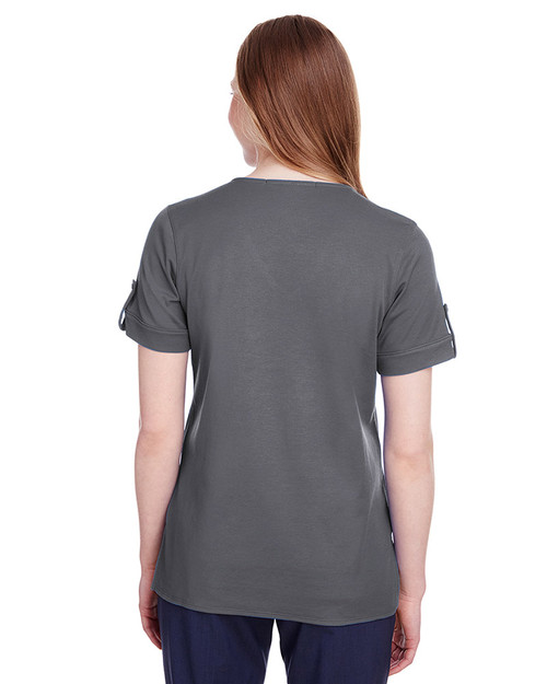 Graphite - back, DG20WB Devon & Jones Ladies' CrownLux Performance™ Plaited Rolled-Sleeve Top | Blankclothing.ca