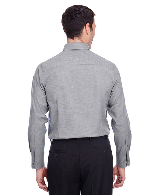 Graphite - back, DG562 Devon & Jones Men's Crown Collection™ Stretch Pinpoint Chambray Shirt | Blankclothing.ca