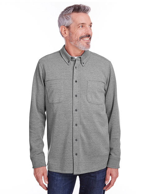 Dark Charcoal Heather - M708 Harriton Adult StainBloc™ Pique Fleece Shirt-Jacket | Blankclothing.ca