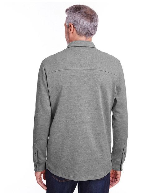 Dark Charcoal Heather - back, M708 Harriton Adult StainBloc™ Pique Fleece Shirt-Jacket | Blankclothing.ca