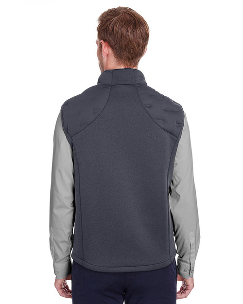 Carbon/Black Heather/Black - back, NE709 North End Men's Pioneer Hybrid Vest | Blankclothing.ca
