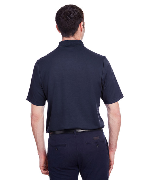 Navy - back, DG20P Devon & Jones Men's CrownLux Performance™ Plaited Polo with Pocket | Hardgoods.ca