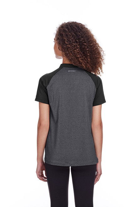 Black Heather/Black - back, S16564 Spyder Ladies' Peak Polo | Blankclothing.ca