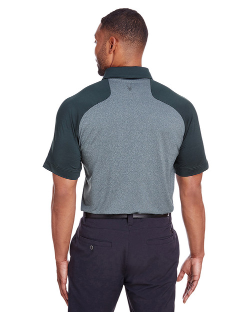 Frontier Heather/Frontier - back, S16533 Spyder Men's Peak Polo | Blankclothing.ca