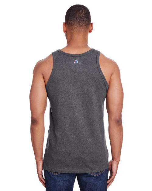Charcoal Heather - Back, CP30 Champion Men's Ringspun Cotton Tank Top | BlankClothing.ca