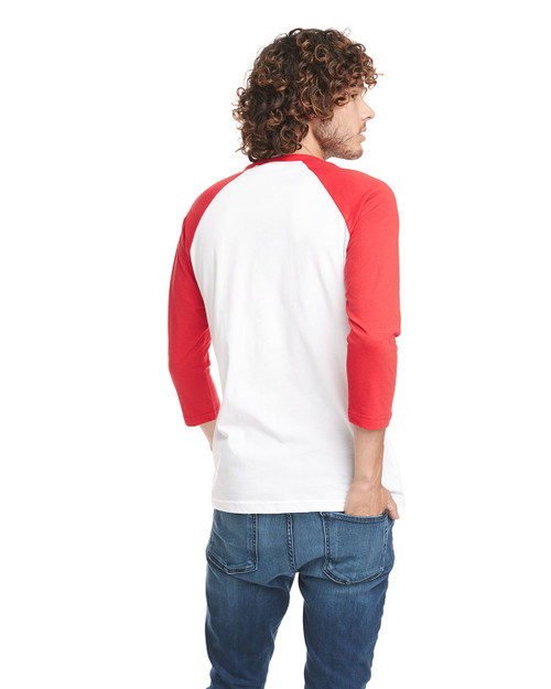 Red/White - Back, 6251 Next Level Unisex CVC 3/4 Sleeve Raglan Baseball T-Shirt | BlankClothing.ca