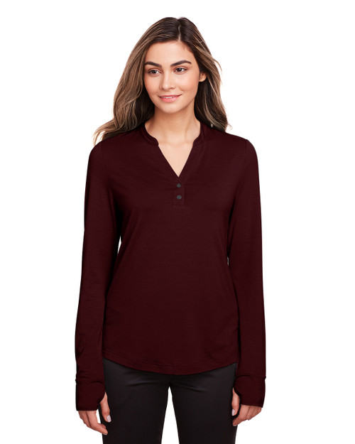 Burgundy - NE400W North End Ladies' Jaq Snap-Up Stretch Performance Pullover Long Sleeve Shirt | BlankClothing.ca