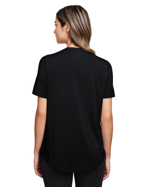 Black - Back, NE100W North End Ladies' Jaq Snap-Up Stretch Performance Polo | BlankClothing.ca