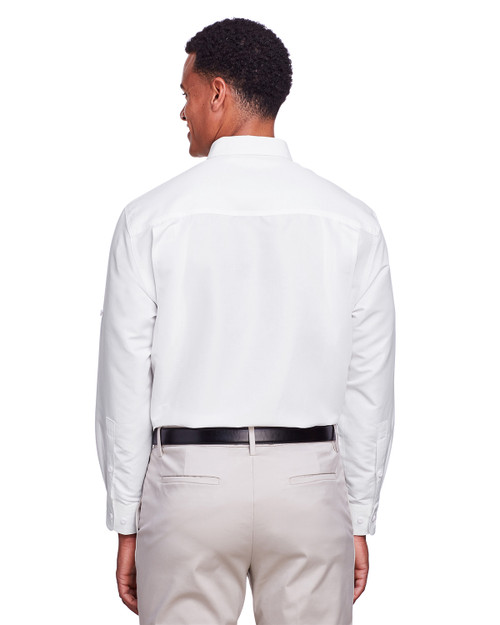 White - Back, M580L Harriton Men's Key West Long-Sleeve Performance Staff Shirt | BlankClothing.ca