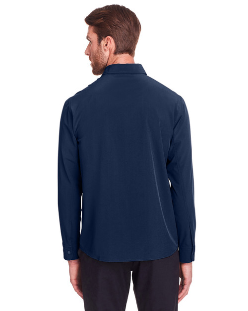Classic Navy - Back, NE500 North End Men's Borough Stretch Performance Shirt | BlankClothing.ca