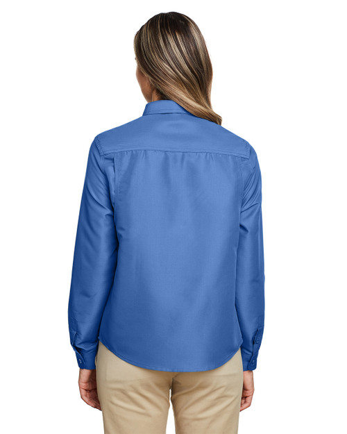 Pool Blue - Back, M580LW Harriton Ladies' Key West Long-Sleeve Performance Staff Shirt | BlankClothing.ca