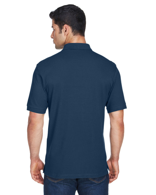 Navy - Back, M200T Harriton Men's Tall 6 oz. Ringspun Cotton Piqué Short-Sleeve Polo | Blankclothing.ca