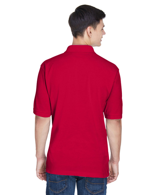 Red - Back, M265T Harriton Men's Tall 5.6 oz. Easy Blend™ Polo | BlankClothing.ca