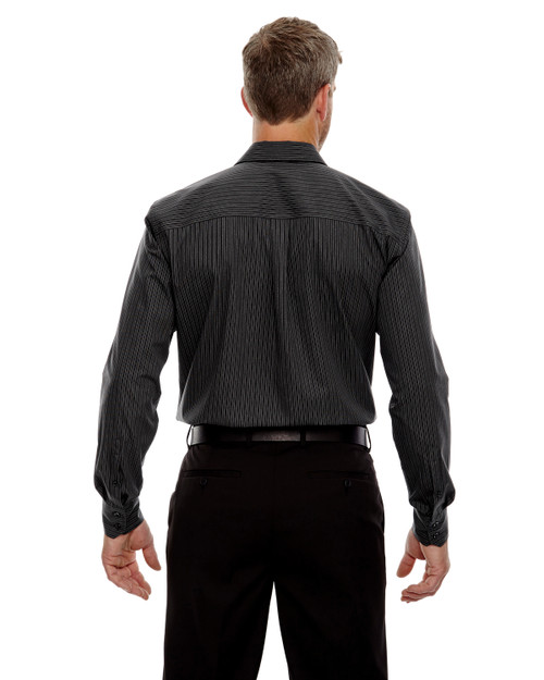 Black - Back, 88674 North End Men's Boardwalk Wrinkle-Free Two-Ply 80's Cotton Striped Tape Shirt | BlankClothing.ca