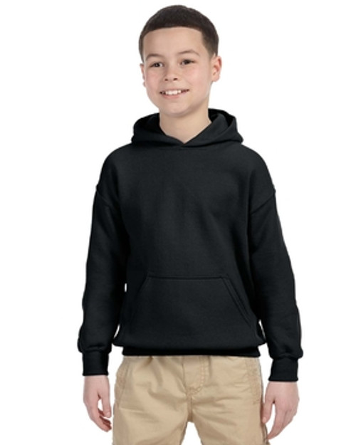 Black G185B Gildan Heavy Blend Youth 50/50 Hoodie | Blankclothing.ca