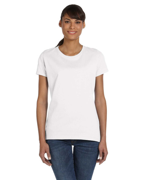 White - L3930R Fruit of the Loom Ladies' 100% Heavy Cotton HD® T-Shirt | Blankclothing.ca