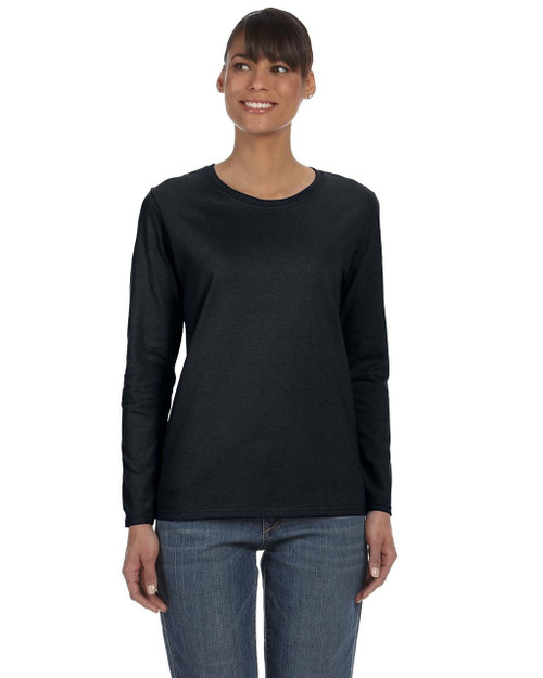 Black - G540L Gildan Heavy Cotton Ladies' Long Sleeve T-Shirt | Blankclothing.ca