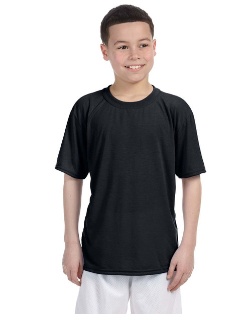 Black G420B Gildan Athletic Performance Youth T-Shirt | Blankclothing.ca
