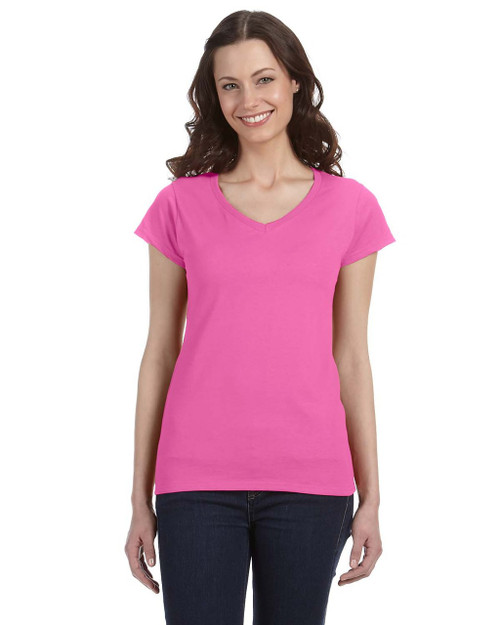 Azalea - G64VL SoftStyle Ladies' Junior Fit V-Neck T-Shirt | Blankclothing.ca