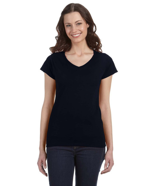 Black - G64VL SoftStyle Ladies' Junior Fit V-Neck T-Shirt | Blankclothing.ca