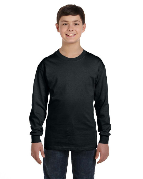 Black G540B Gildan Heavy Cotton Youth Long Sleeve T-Shirt | Blankclothing.ca