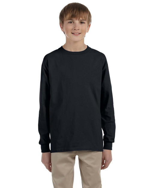 Black G240B Ultra Cotton Youth Long Sleeve T-Shirt | Blankclothing.ca