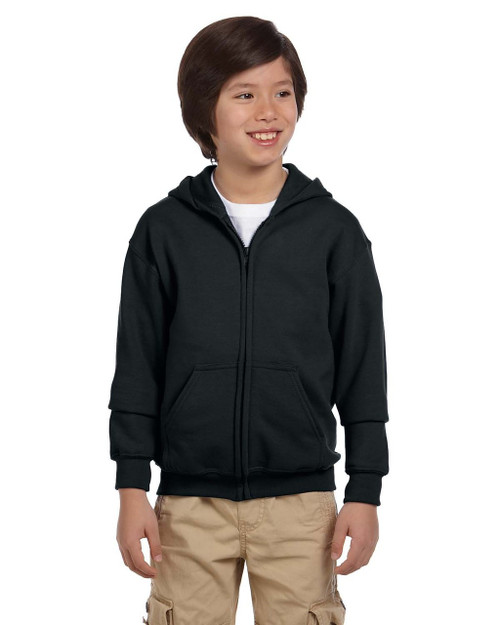 Black  - G186B Gildan Heavy Blend Youth 50/50 Full Zip Hoodie | Blankclothing.ca