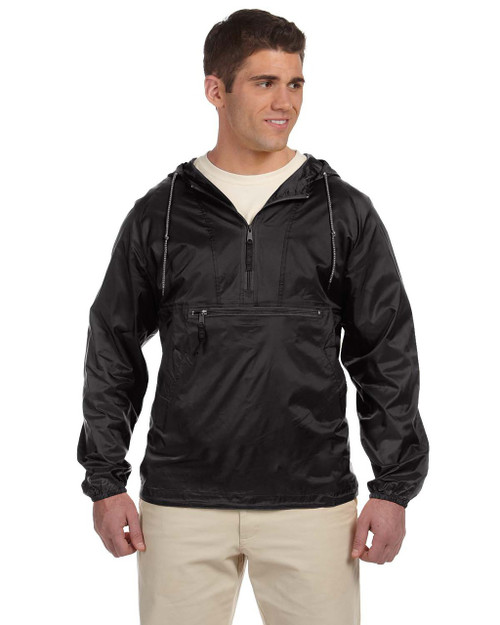 Black M750 Packable Nylon Jacket