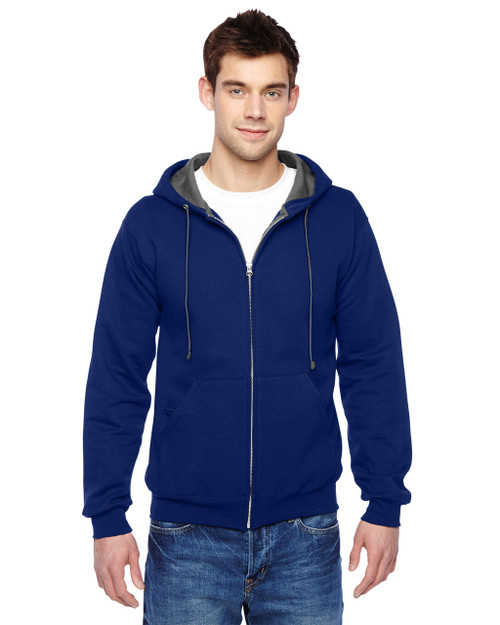 Admiral Blue - SF73R Fruit Of The Loom Softspun Full-Zip Hooded Sweatshirt | Blankclothing.ca