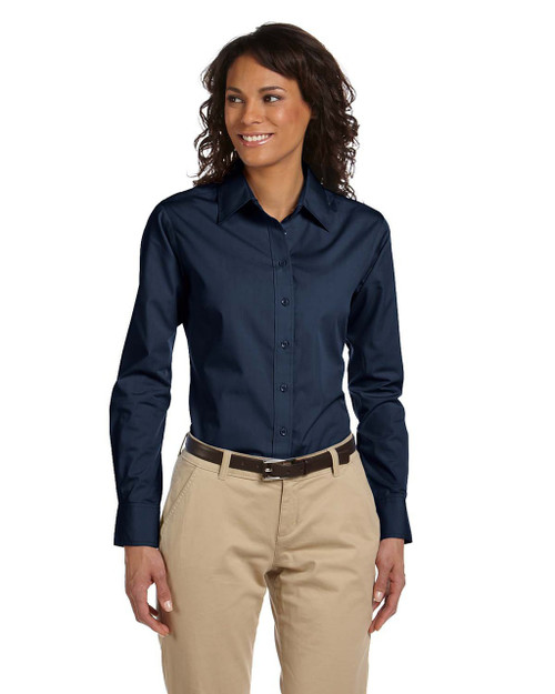 Navy - M510W Harriton Woman's Essential Poplin Shirt | BlankClothing.ca