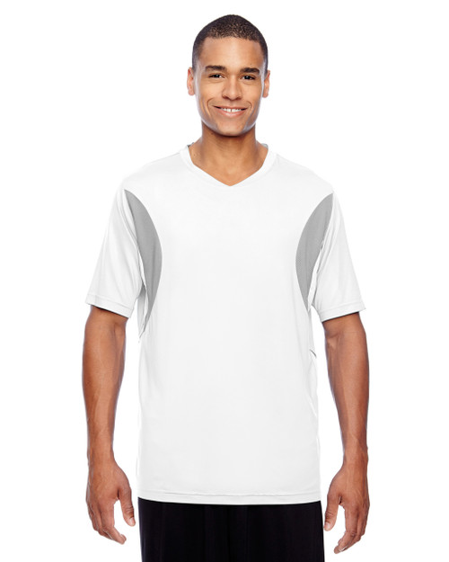 White - TT10 Team 365 Athletic V-Neck All Sport Jersey T-Shirt