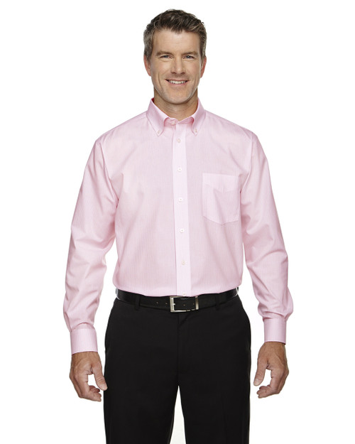 Pink - D645 Devon & Jones Crown Collection™ Banker Stripe | Blankclothing.ca