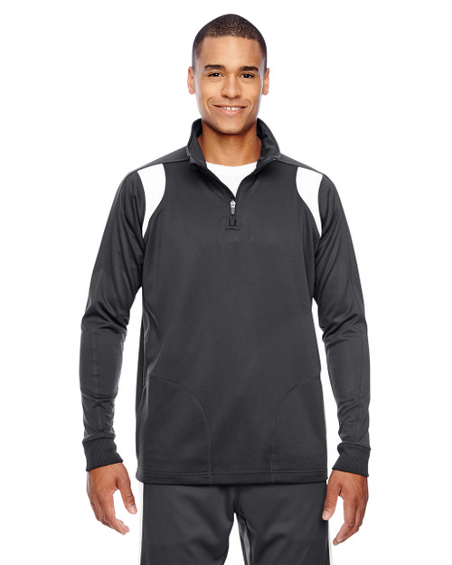 Graphite/White - TT32 Team 365 Men's Elite Performance Quarter-Zip Sweater