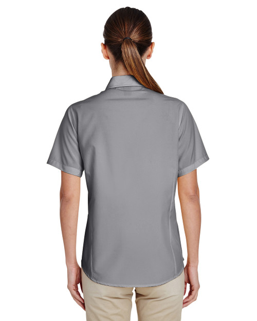 Dark Grey, Back - M610SW Harriton Paradise Short-Sleeve Performance Shirt | BlankClothing.ca