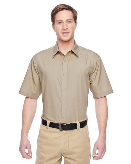 Khaki - M545 Harriton Men's Advantage Snap Closure Short-Sleeve Shirt