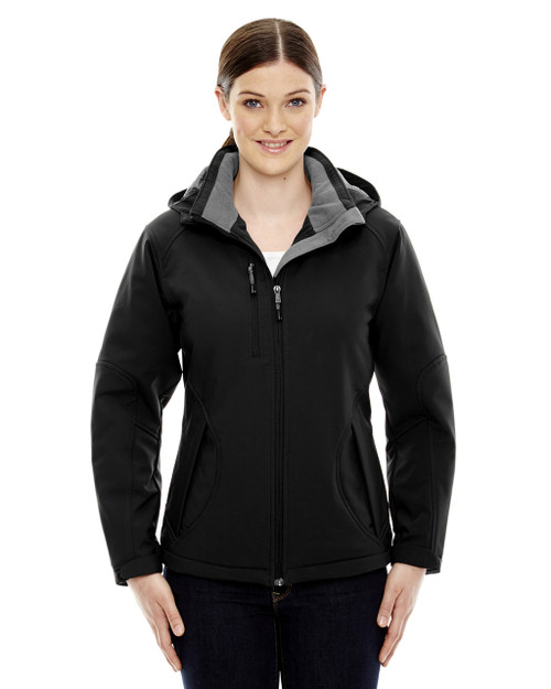 Black - 78080 North End Ladies' Insulated Soft Shell Jacket With Detachable Hood | Blankclothing.ca