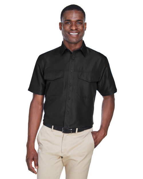 Black - M580 Harriton Men's Key West Short-Sleeve Performance Staff Shirt | BlankClothing.ca