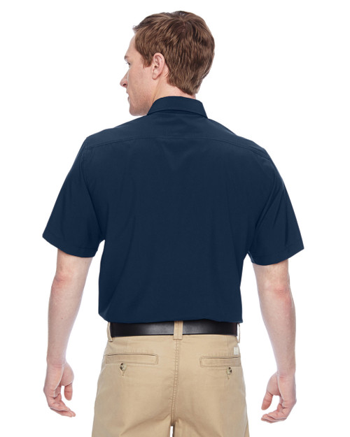 Navy, Back - M610S Harriton Paradise Short-Sleeve Performance Shirt | BlankClothing.ca