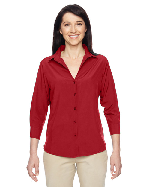Parrot Red - M610W Harriton Ladies' Paradise Three-Quarter Sleeve Performance Shirt