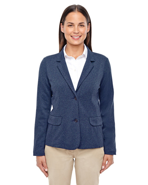 Navy Heather - D886W Devon & Jones Ladies' Fairfield Herringbone Soft Blazer | Blankclothing.ca