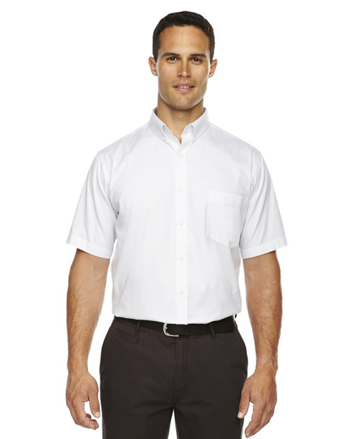 White 88194T Ash City - Core 365 Tall Optimum Short-Sleeve Twill Shirt | Blankclothing.ca