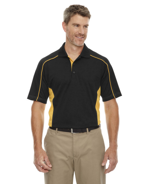 Blk/Cmps Gld - 85113 Ash City - Extreme Eperformance Men's Plus Colourblock Polo Shirt