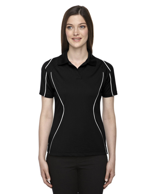 Black - 75107 Ash City - Extreme Eperformance Ladies' Velocity Colourblock Polo Shirt with Piping