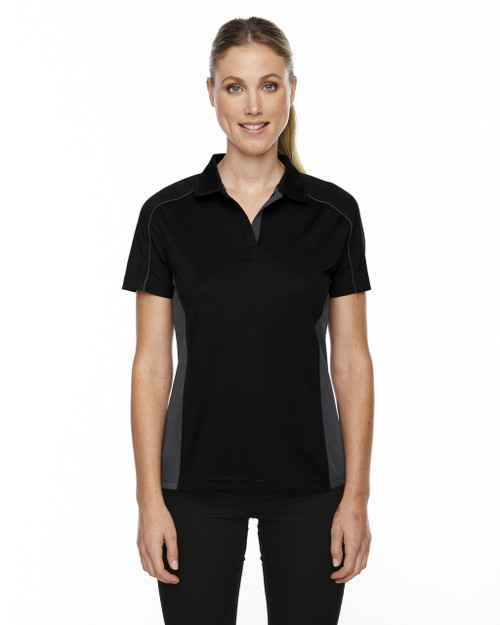 Black 75113 Ash City - Extreme Eperformance Ladies' Fuse Plus Colourblock Polo Shirt | Blankclothing.ca