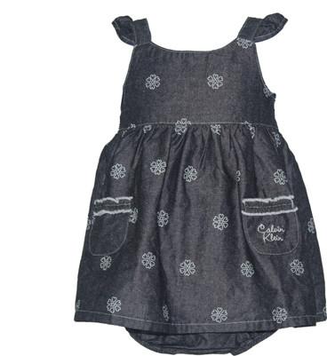 Baby Girl Flower Chambray Dress